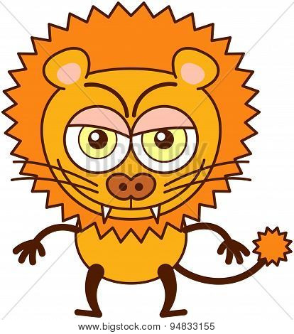 Cute lion showing a disquieting naughty mood