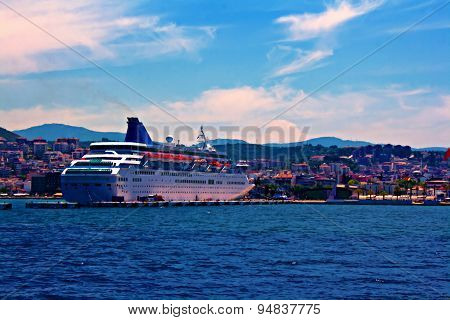 A Digital Painting Of A Cruise Ship In Kusadasi Harbor Turkey