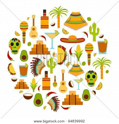 Vector background with flat objects on Mexico theme: sombrero, poncho, tequila, coctails, taco, skul