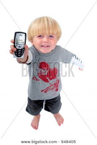 Young Boy Holding Mobile Phone Showing Mummy Calling