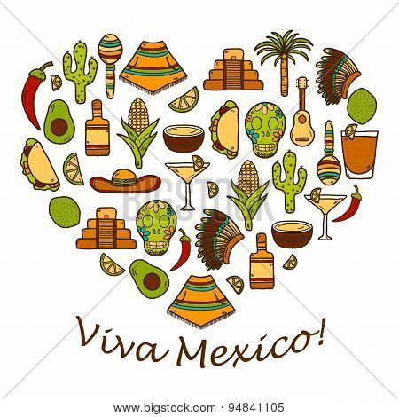 Vector background with cute hand drawn objects in heart shape on Mexica theme: sombrero, poncho, teq