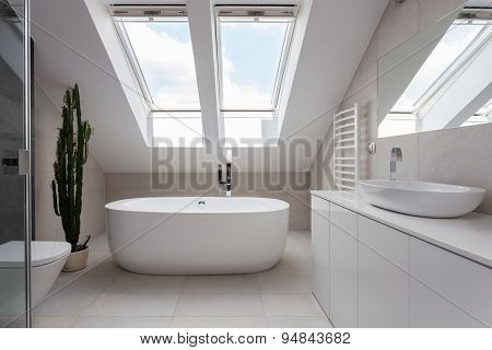 Freestanding Bath In White Bathroom