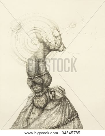 Surreal Hand Drawing, Lady In A Dress Decorative Artwork