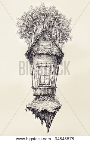 Surreal Hand Drawing Of A Small House, Decorative Artwork