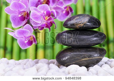 Japanese ZEN garden with feng shui and stacked stones with orchid flower poster
