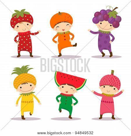 Cute Kids In Strawberry, Orange, Grape, Pine Apple, Watermelon And Litchi Costumes