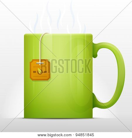 Hot cup of tea with teabag inside. Qualitative vector illustration about process of cooking tea tea bag steeping tea party etc. It has transparency blending modes mesh gradients poster