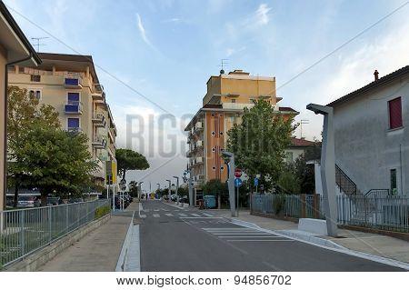 Lido di Jesolo street to sea beach, Adriatic sea, venetian Riviera, Italy poster