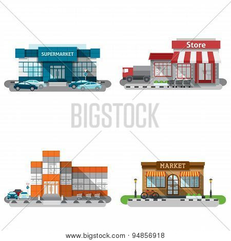 Shop Buildings Icons Set