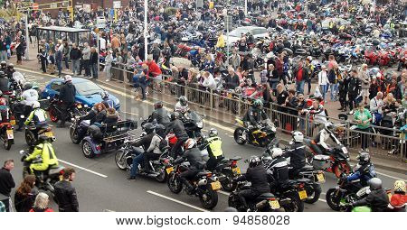 Bikers gather in a seaside bike festival