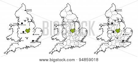 Leicestershire located on map of England