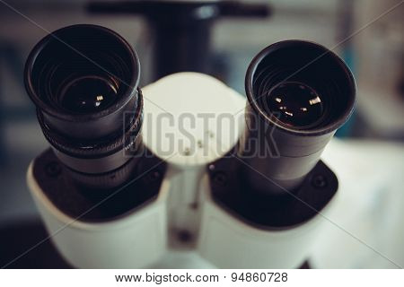 Microscope Eyepiece Closeup As Background