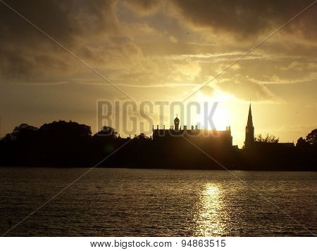 Lurgan Castle at sunset