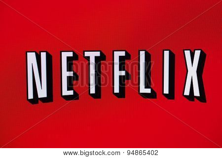 Netflix Logo On A Monitor Screen.