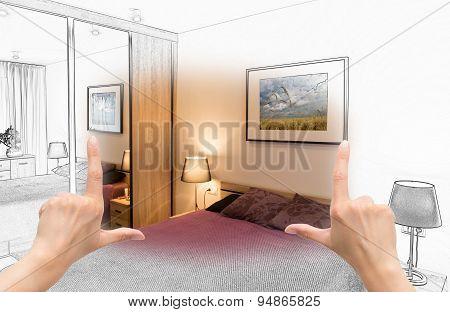 Female Hands Framing Custom Bedroom Design.