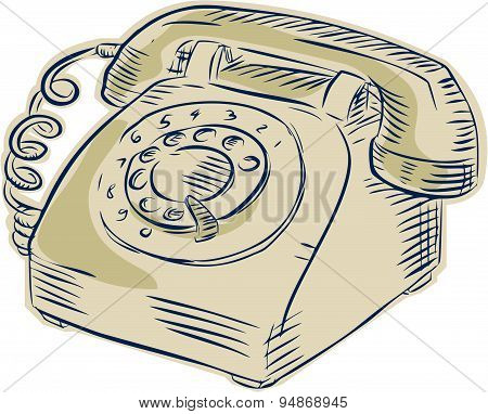 Etching engraving handmade style illustration of a vintage telephone viewed from the front set on isolated white background. poster