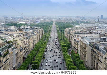 Champs Elysees from the Arc de Triomphe in Paris France poster