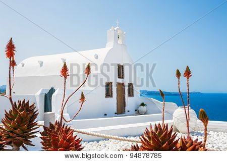Church In Oia Town, White Architecture On Santorini Island, Greece