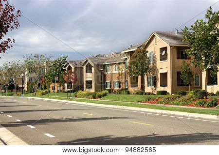 Modern Apartment Complex In Suburban Neighborhood