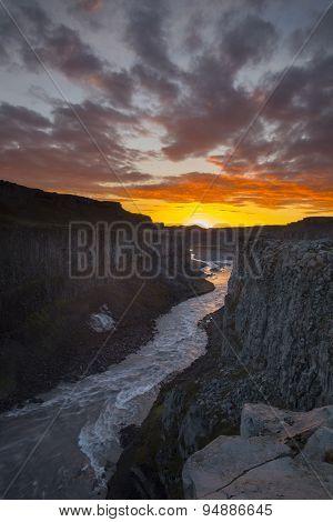 Jokulsa A Fjollum Downstream From Dettifoss, Jokulsargljufur Canyon In Iceland