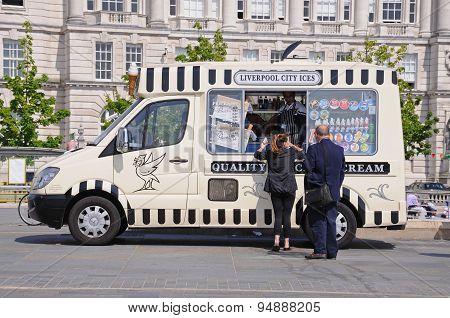 People buying ice cream, Liverpool.
