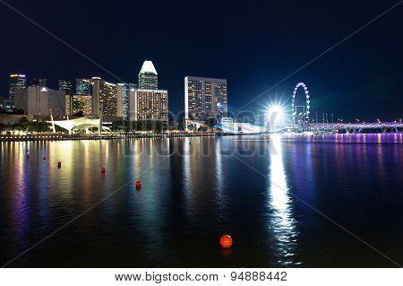 Singapore skyline at night