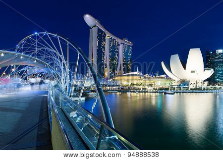 Helix Bridge leading to Marina Bay Sands Hotel