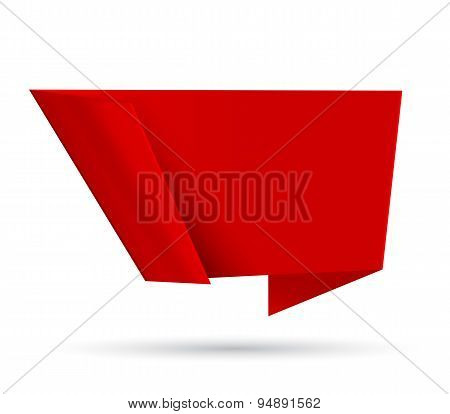 Red Origami Abstract Speech Bubble