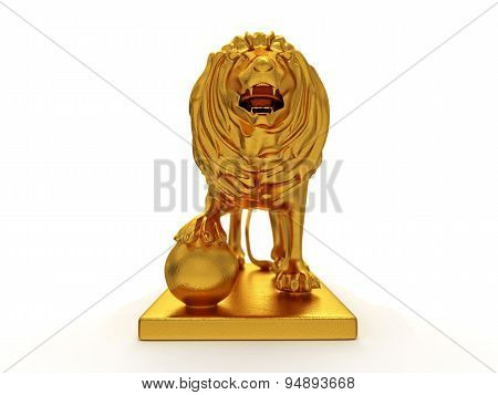 Golden Statue Of A Lion (front View)