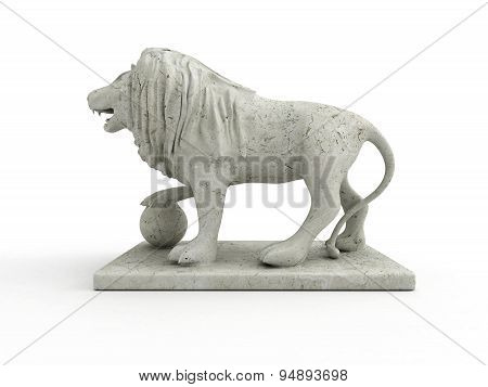 Marble Statue Of A Lion (left View)