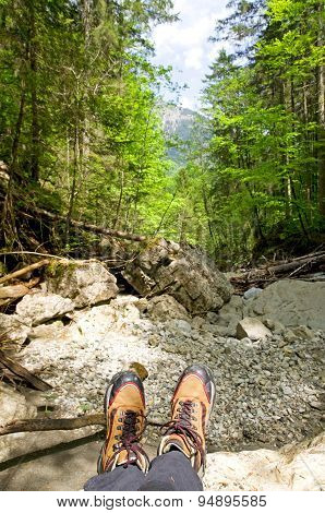 hiking in the bavarian alps near Bad Hindelang Germany