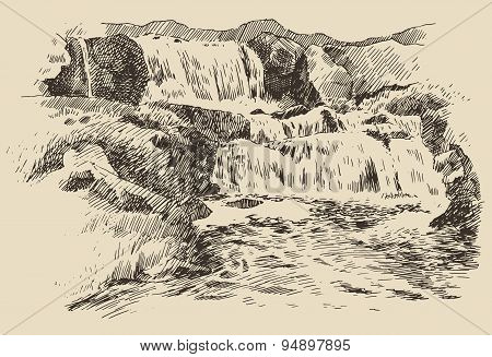 Waterfall landscape vintage engraving illustration