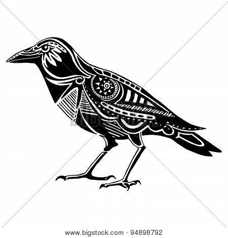 Ethnic black raven silhouette. African / totem / tattoo design