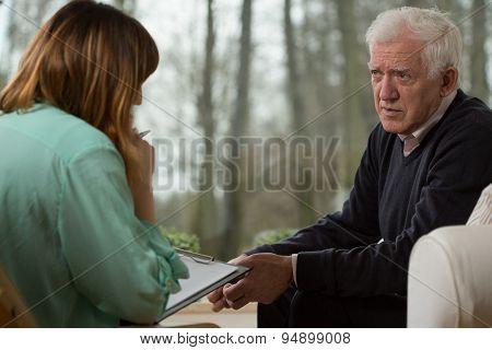 Psychiatrist And Her Elder Patient