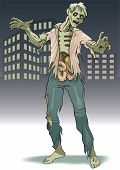 The lonely zombie costs on background city landscape. poster