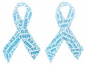 Blue ribbon campaign for Stop Child Abuse campaign made from word illustration isolated on white background poster