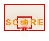 Word Score over a basketball hoop and a ball as O letter composition, isolated over white background poster