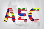Asean Economic Community (AEC) with background map in vector style (EPS10) poster