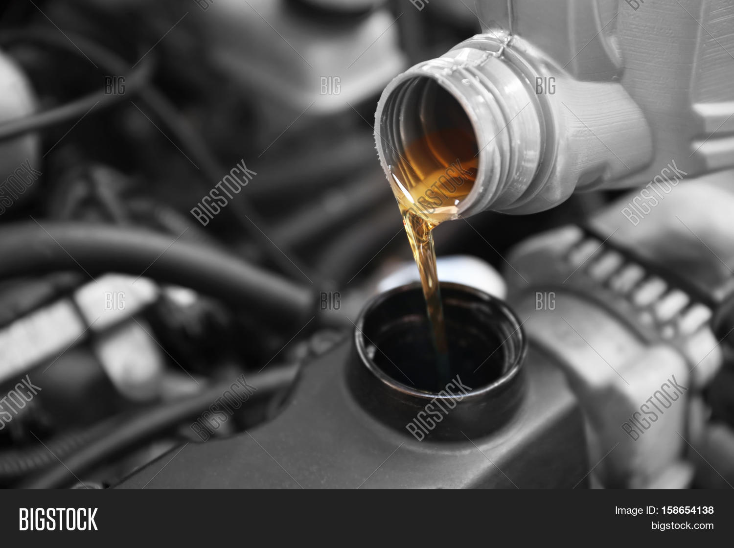 Pouring Oil Car Engine Image Photo Free Trial Bigstock