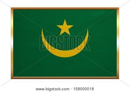 Mauritanian national official flag. African patriotic symbol banner element background. Correct colors. Flag of Mauritania golden frame fabric texture illustration. Accurate size color