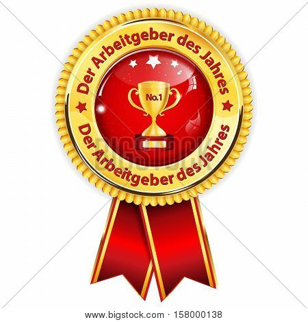Best Employer of the year (German language: Der Arbeitgeber des Jahres ) - business elegant icon /award ribbon award distinction for companies.