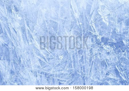 Blue ice crystals texture,  Christmas abstract  background