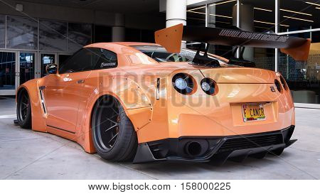 LAS VEGAS NV/USA - OCTOBER 31 2016: Customized Drive to Cure Nissan GT-R car at the Specialty Equipment Market Association (SEMA) 50th Anniversary auto trade show. Builder: Baker Performance
