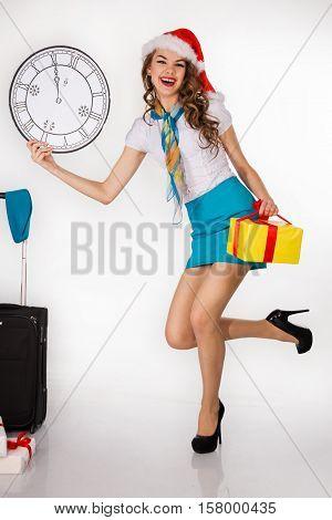 Stewardess With Trolley Case