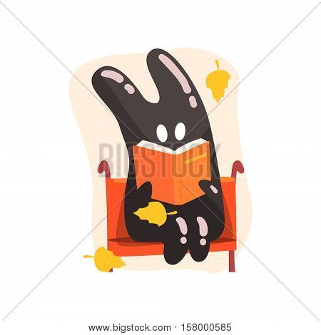 Black Tar Jelly Rabbit Shape Monster Reading A Book On The Bench Under Falling Yellow Leaves Outdoors In Autumn Season. Part Of Autumn Fantastic Animal Creatures Set Of Funny Cartoon Vector Illustrations