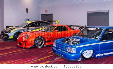 LAS VEGAS NV/USA - NOVEMBER 3 2016: A Mazda and two other tuner cars at the Specialty Equipment Market Association (SEMA) 50th Anniversary auto trade show.