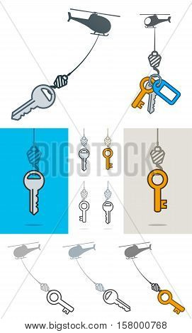 Collection of simple grey silhouette helicopters lifting an assortment of different keys on a hook over white blue and grey backgrounds in a conceptual vector illustration