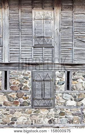 Fasade of very old house in Sozopol, Bulgaria