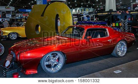 LAS VEGAS NV/USA - NOVEMBER 3 2016: Customized 1973 Pontiac Firebird car at the Specialty Equipment Market Association (SEMA) 50th Anniversary auto trade show. Builder: Martin Bros Customs Sponsor: House of Kolor
