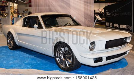 LAS VEGAS NV/USA - OCTOBER 31 2016: Customized Ford Mustang car at the Specialty Equipment Market Association (SEMA) 50th Anniversary auto trade show.
